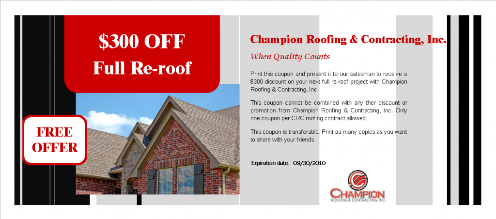 $300 Off Re-Roof Coupon