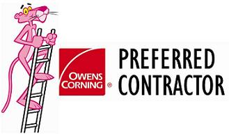 Owens Corning Preferred Contractor logo with Pink Panther on ladder
