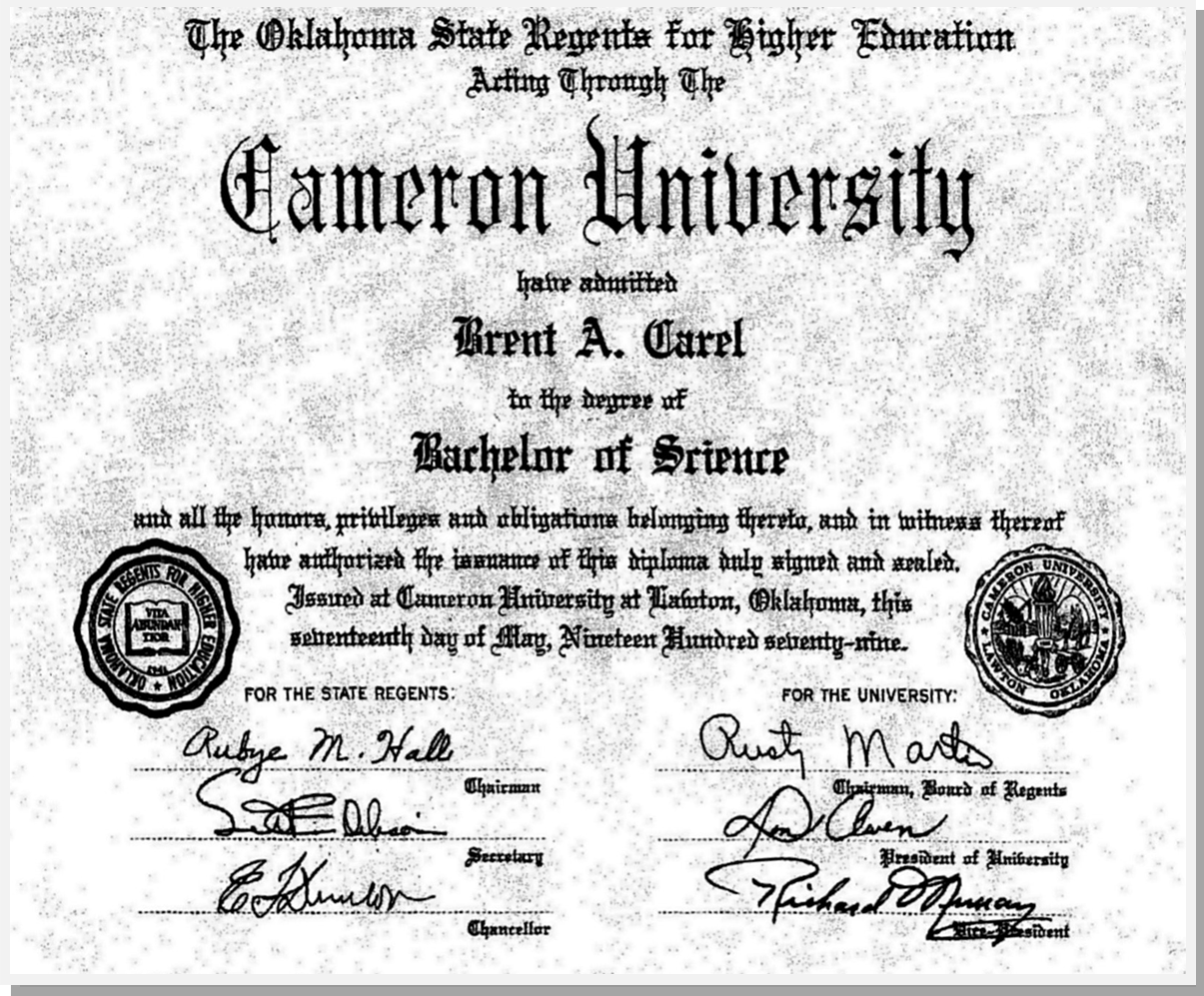 Brent Carel's Bachelor of Science in Business Administration