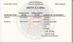 OK Insurance License 101031 Back