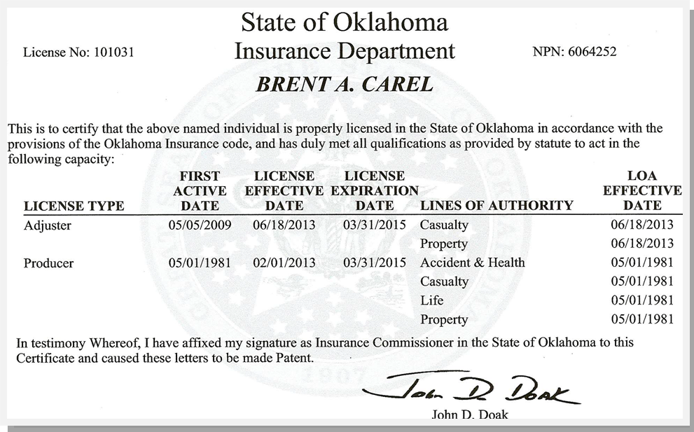 OK Insurance License Card