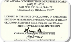 OK Roofing Contractor License BACK