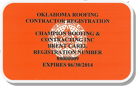 OK Roofing Contractor License FRONT