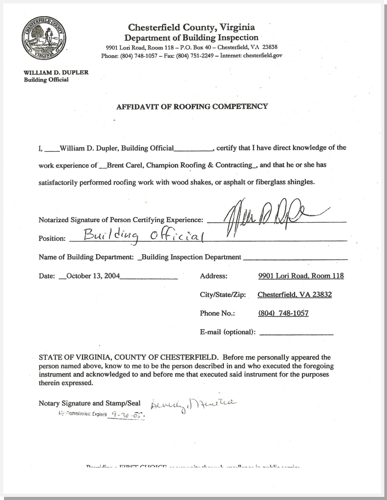 Roofing Competency - VA
